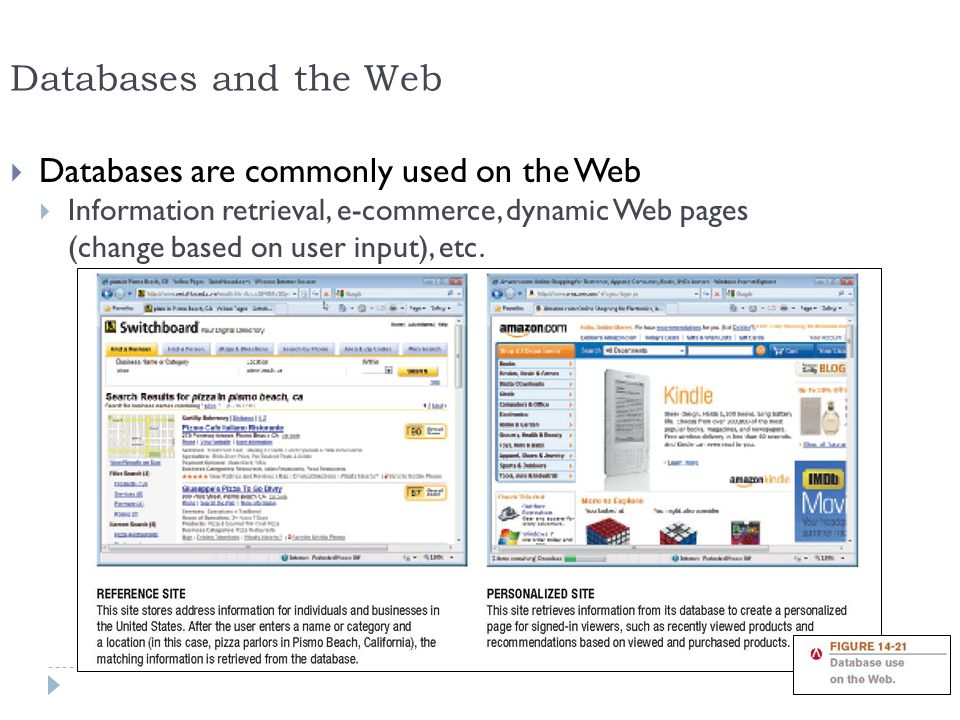 Databases and the Web Databases are commonly used on the Web
