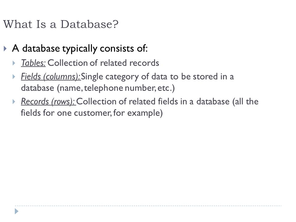 What Is a Database A database typically consists of:
