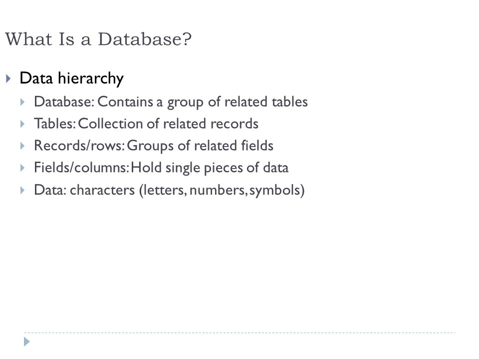 What Is a Database Data hierarchy