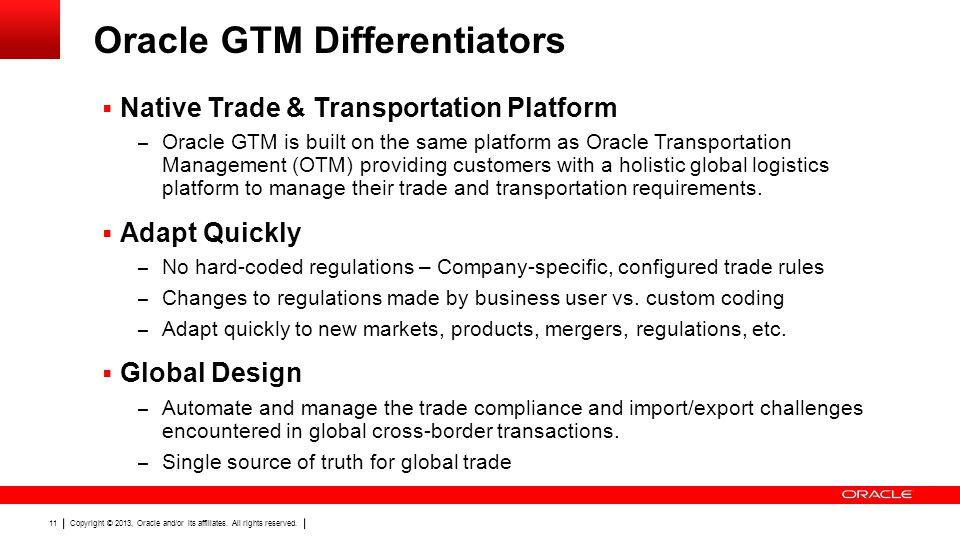 Oracle GTM Differentiators