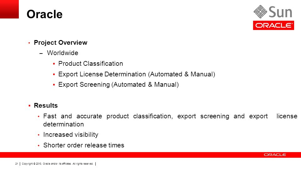 Oracle Project Overview Worldwide Product Classification