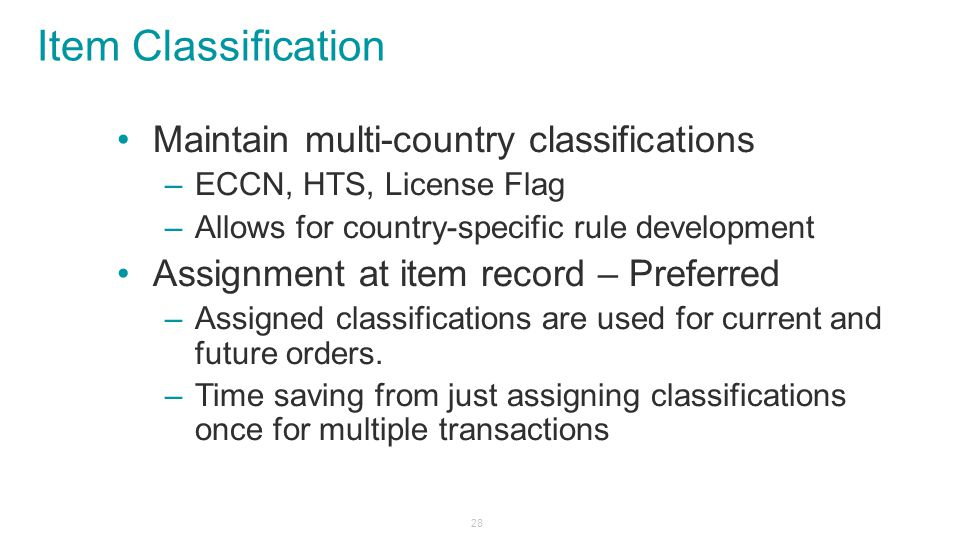 Item Classification Maintain multi-country classifications