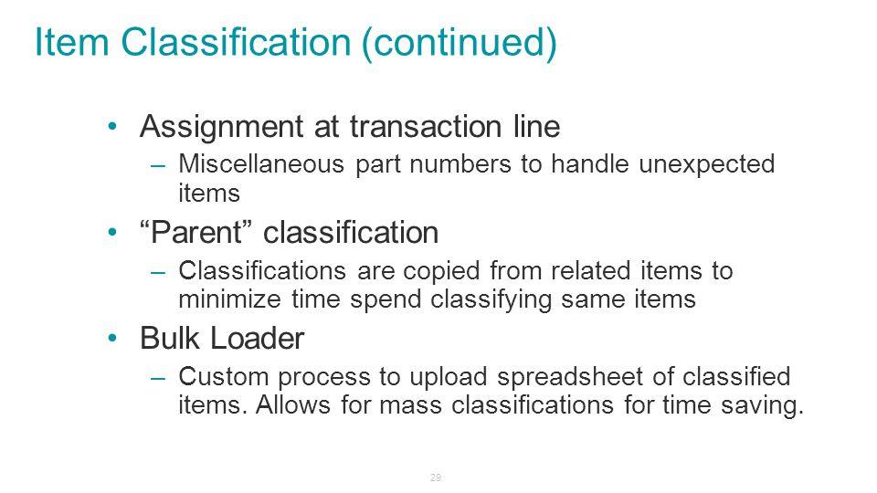 Item Classification (continued)