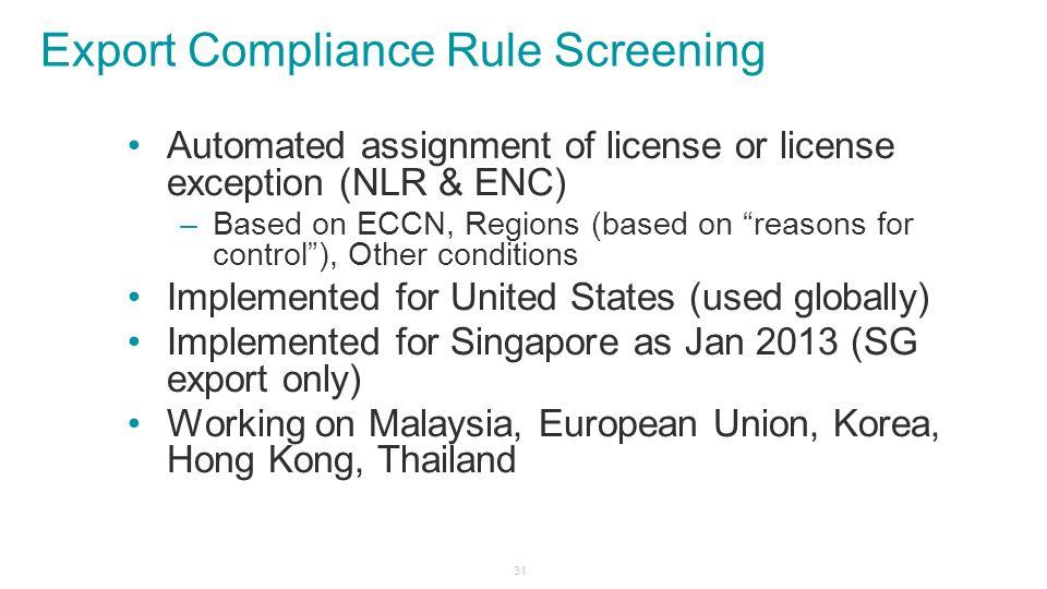 Export Compliance Rule Screening