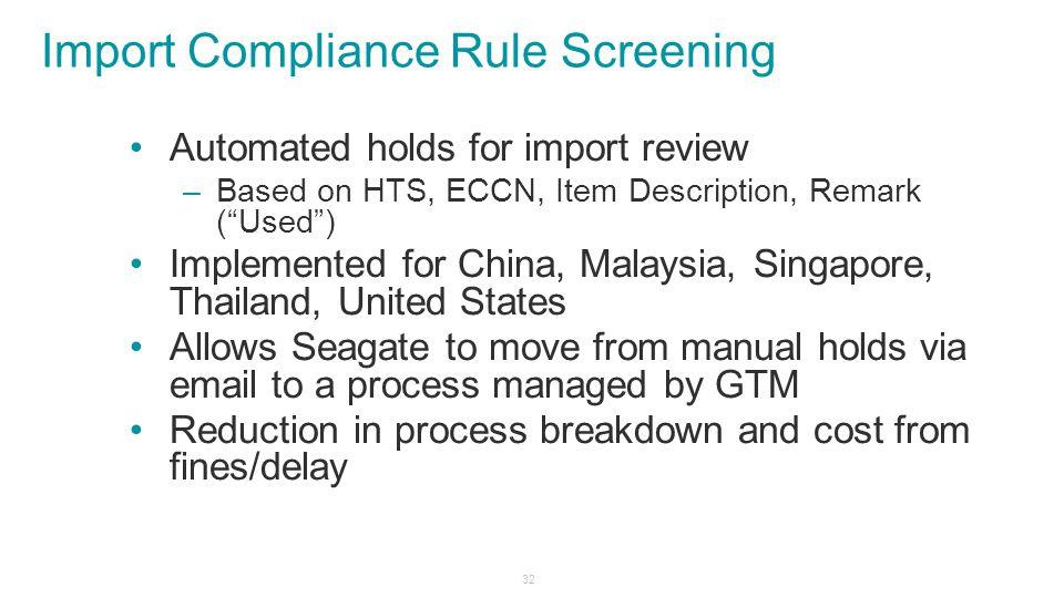 Import Compliance Rule Screening