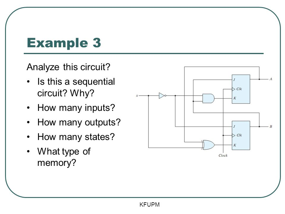 Example 3 Analyze this circuit Is this a sequential circuit Why