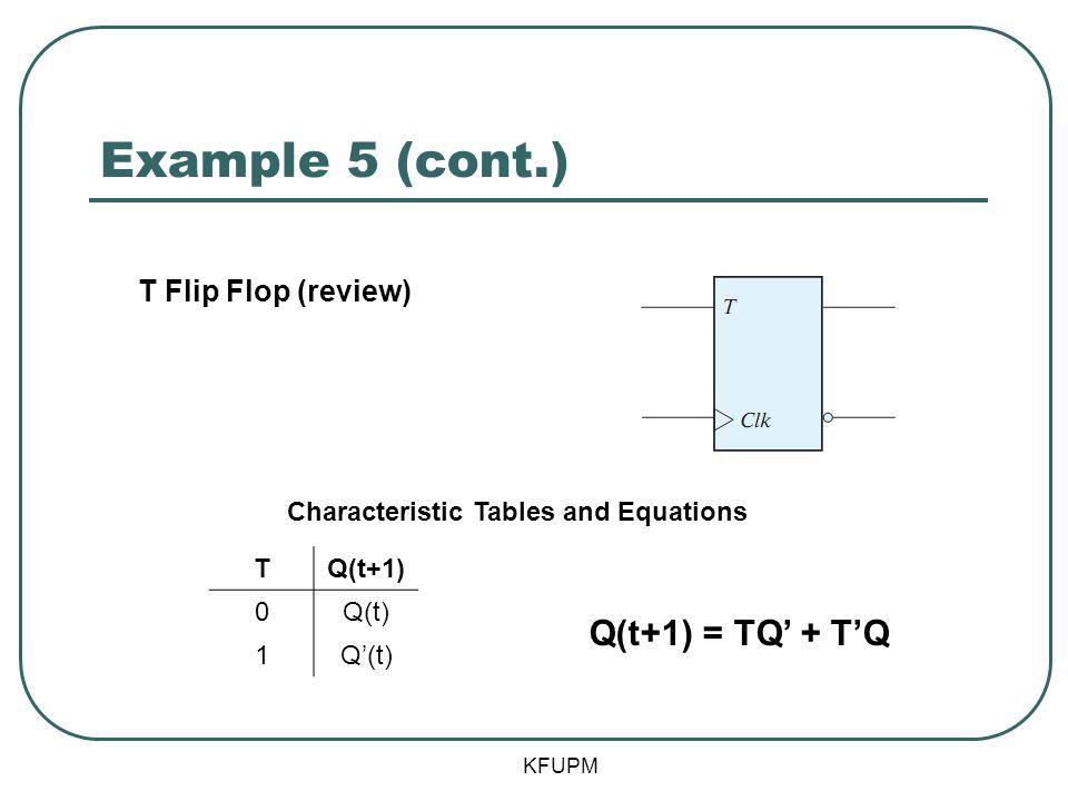 Example 5 (cont.) Q(t+1) = TQ' + T'Q T Flip Flop (review)
