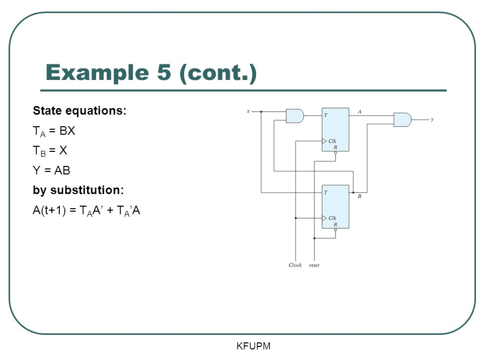 Example 5 (cont.) State equations: TA = BX TB = X Y = AB by substitution: A(t+1) = TAA' + TA'A KFUPM.