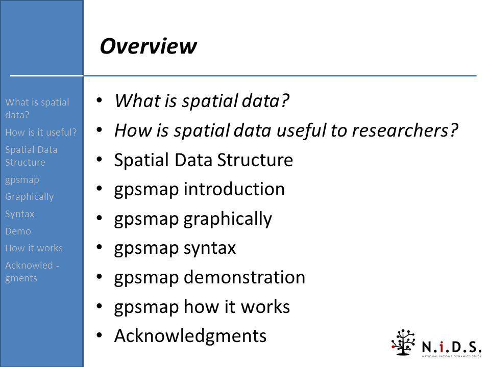 Overview What is spatial data