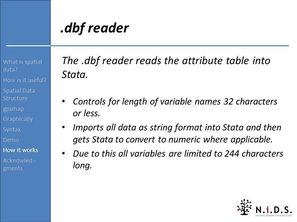 .dbf reader The .dbf reader reads the attribute table into Stata.