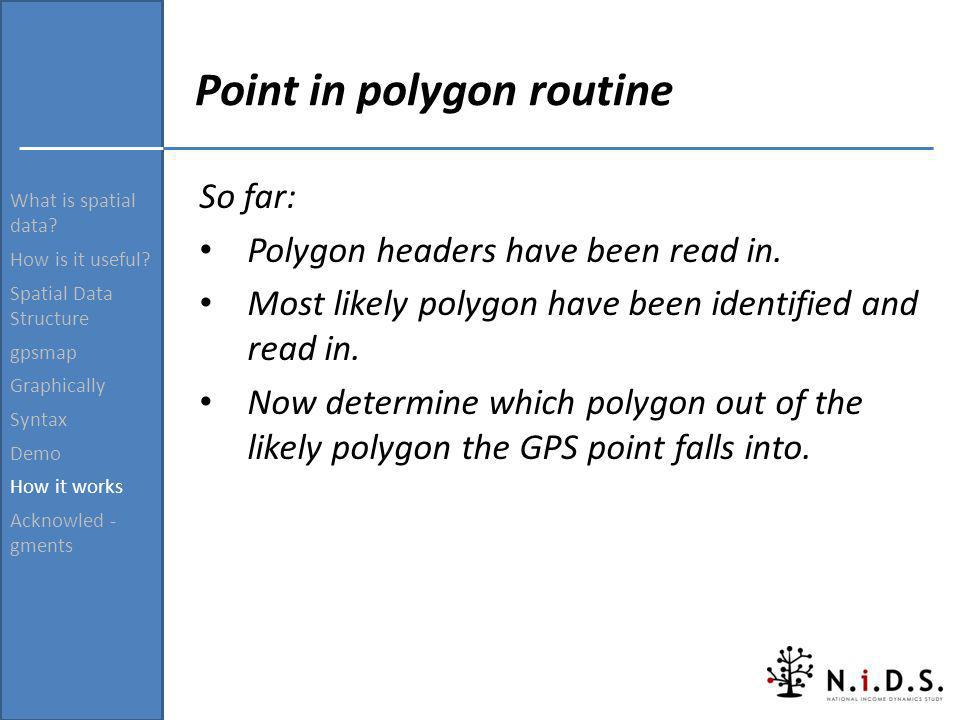 Point in polygon routine