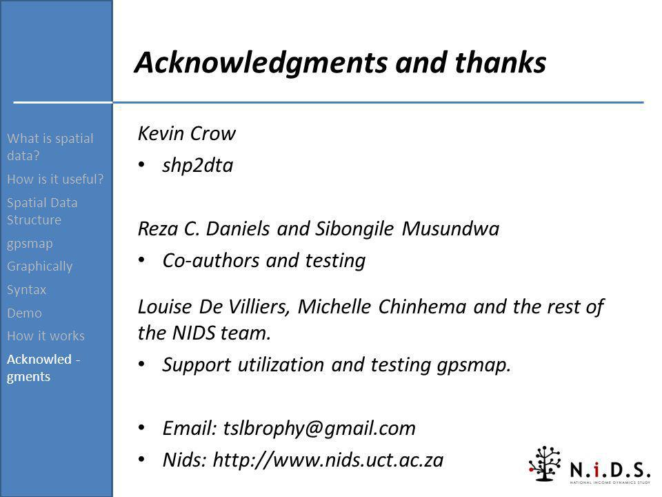 Acknowledgments and thanks