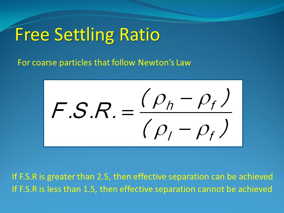 Free Settling Ratio For coarse particles that follow Newton's Law