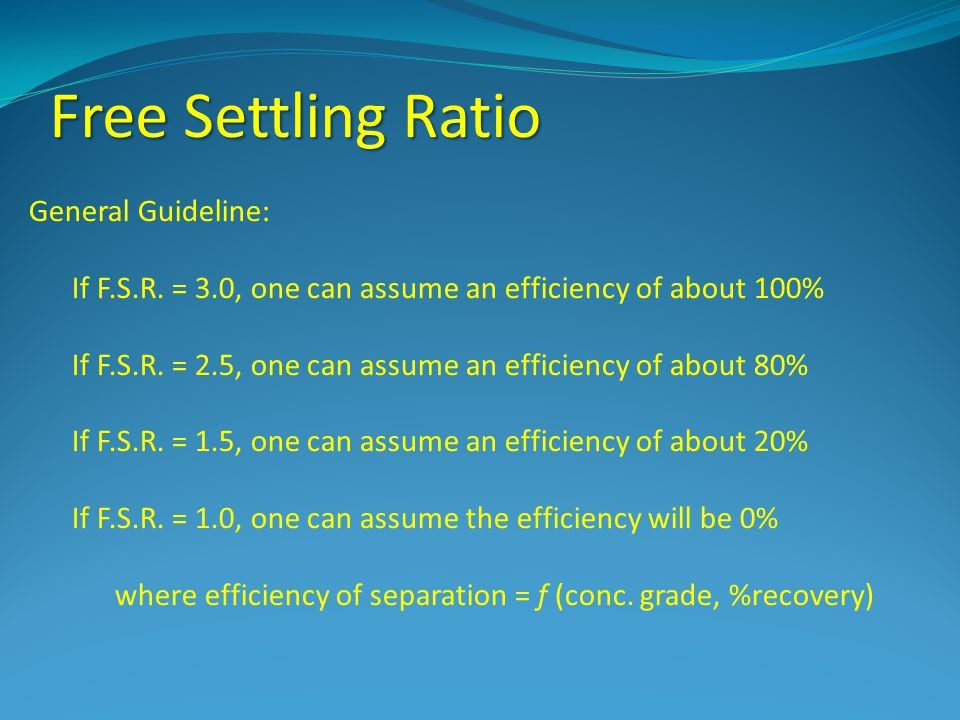 Free Settling Ratio General Guideline: