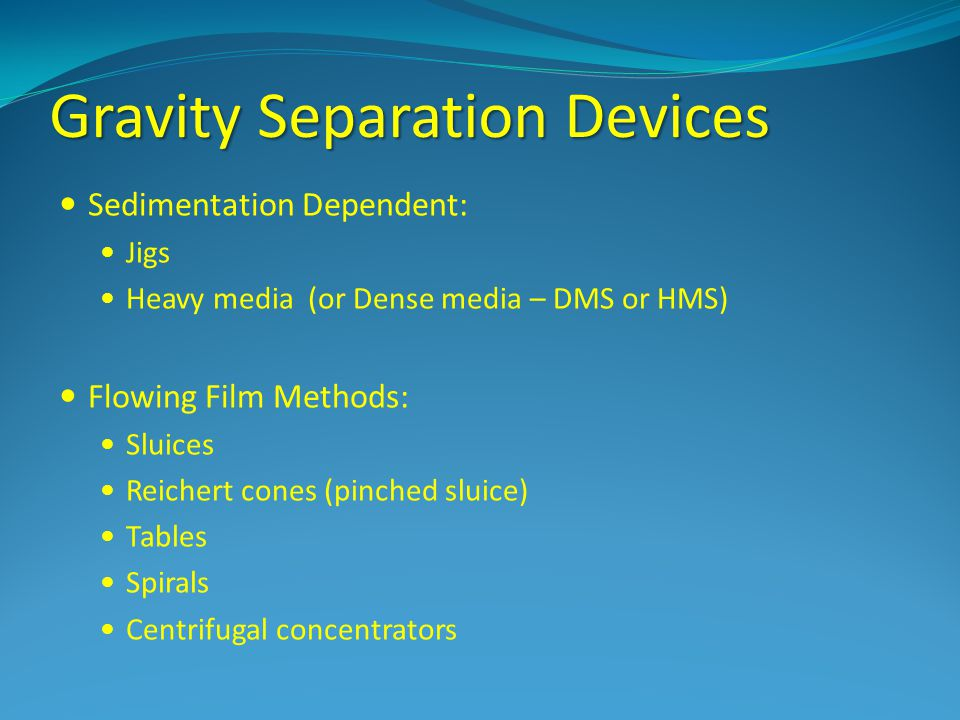 Gravity Separation Devices