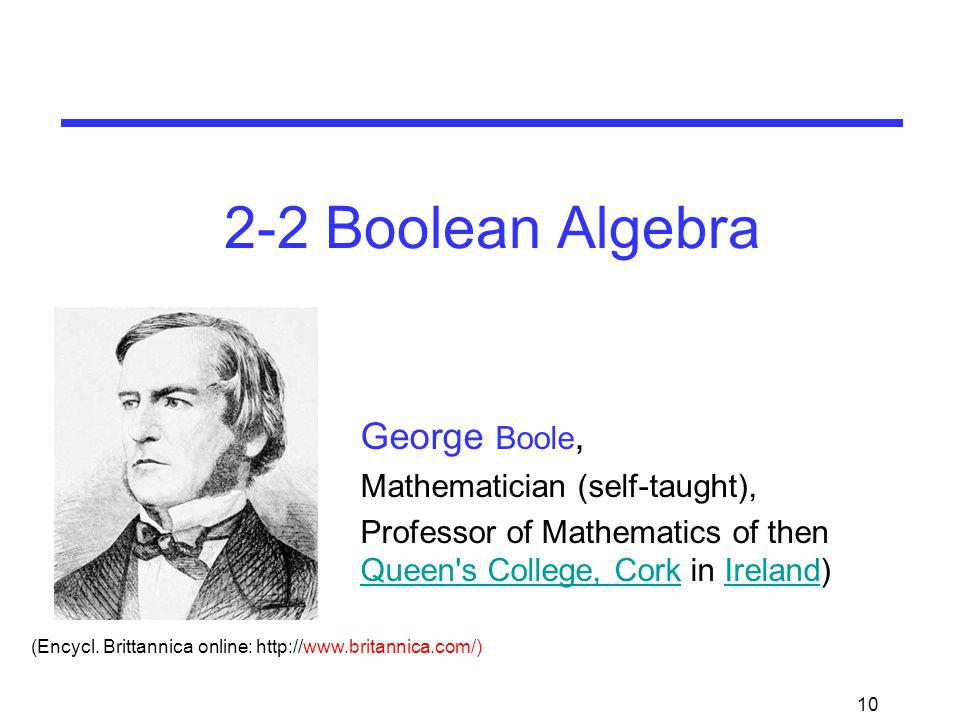 2-2 Boolean Algebra George Boole, Mathematician (self-taught),