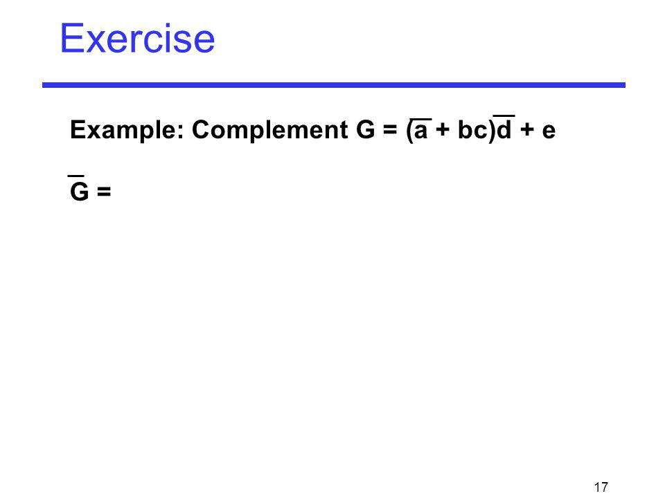 Exercise Example: Complement G = (a + bc)d + e G =