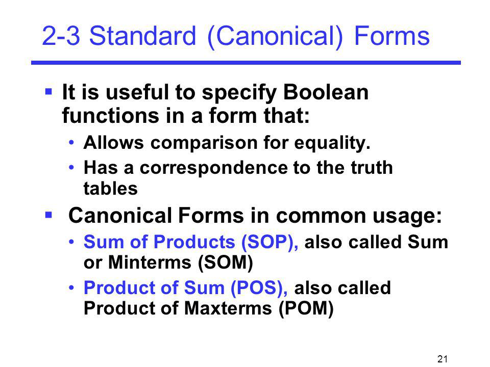 2-3 Standard (Canonical) Forms