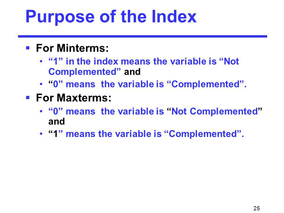 Purpose of the Index For Minterms: For Maxterms: