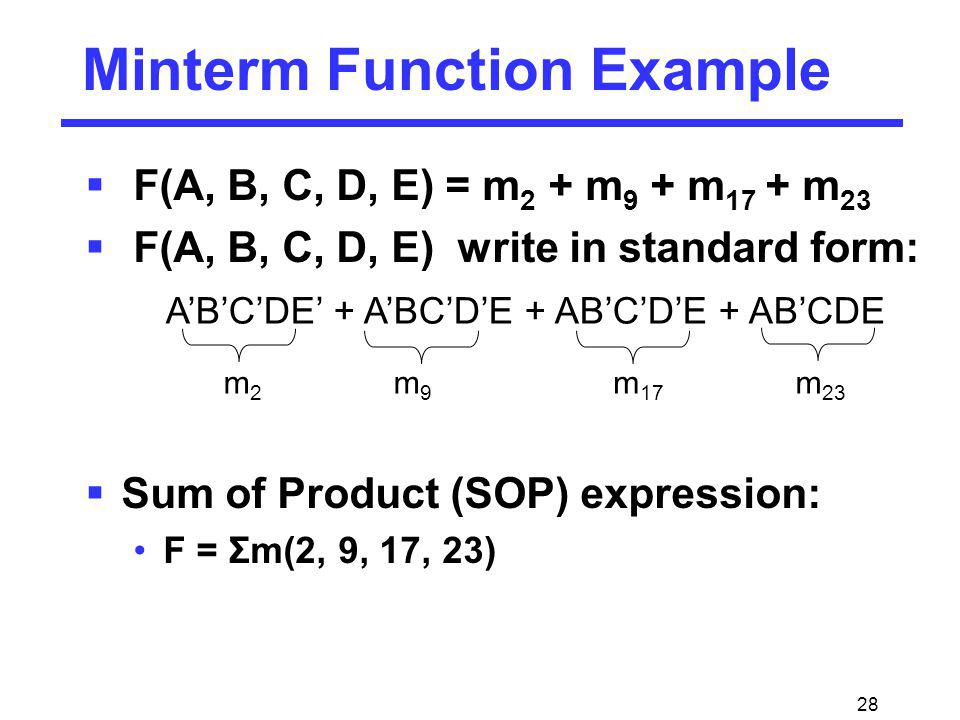 Minterm Function Example