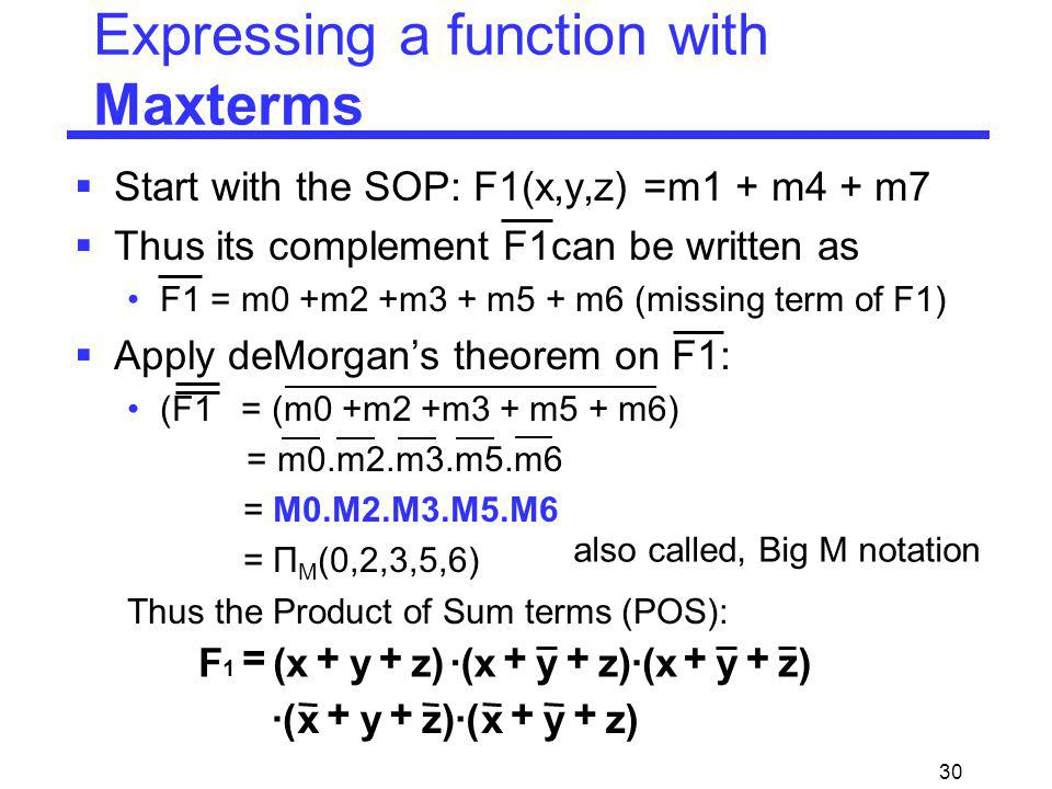 Expressing a function with Maxterms