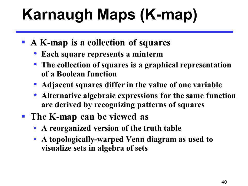 Karnaugh Maps (K-map) A K-map is a collection of squares