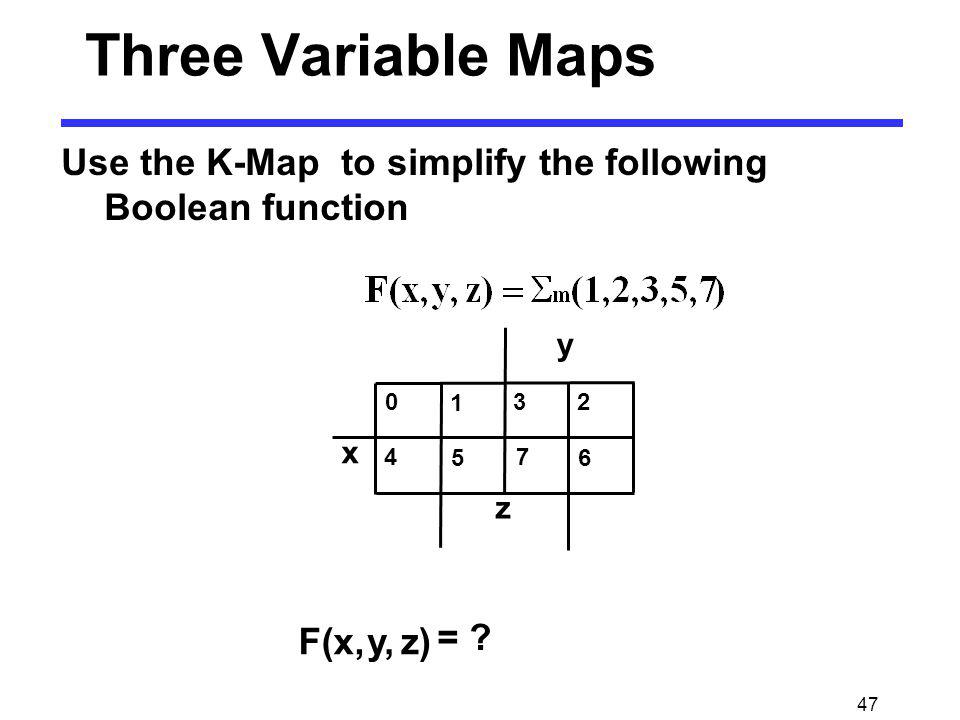 Three Variable Maps y 1 x z