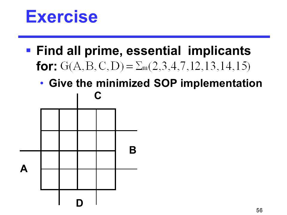 Exercise Find all prime, essential implicants for: