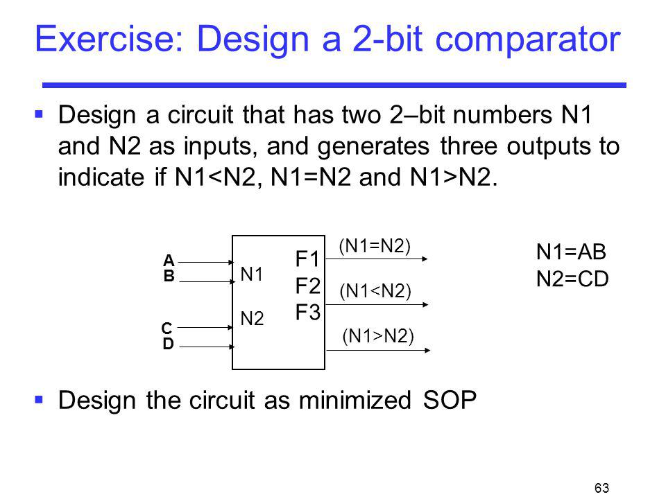 Exercise: Design a 2-bit comparator
