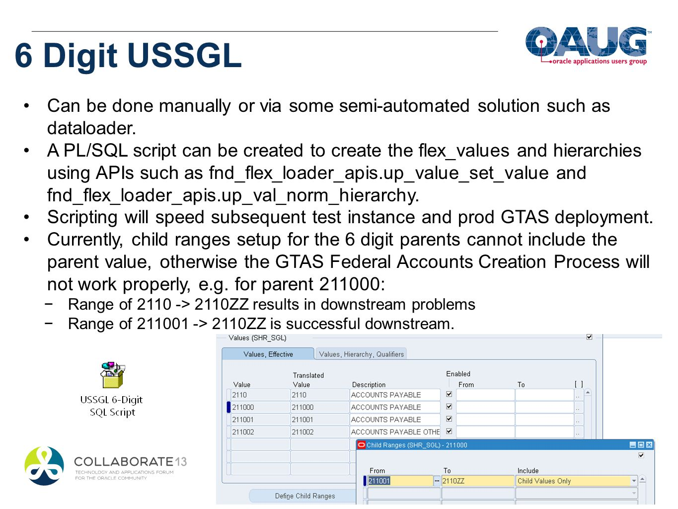 6 Digit USSGL Can be done manually or via some semi-automated solution such as dataloader.