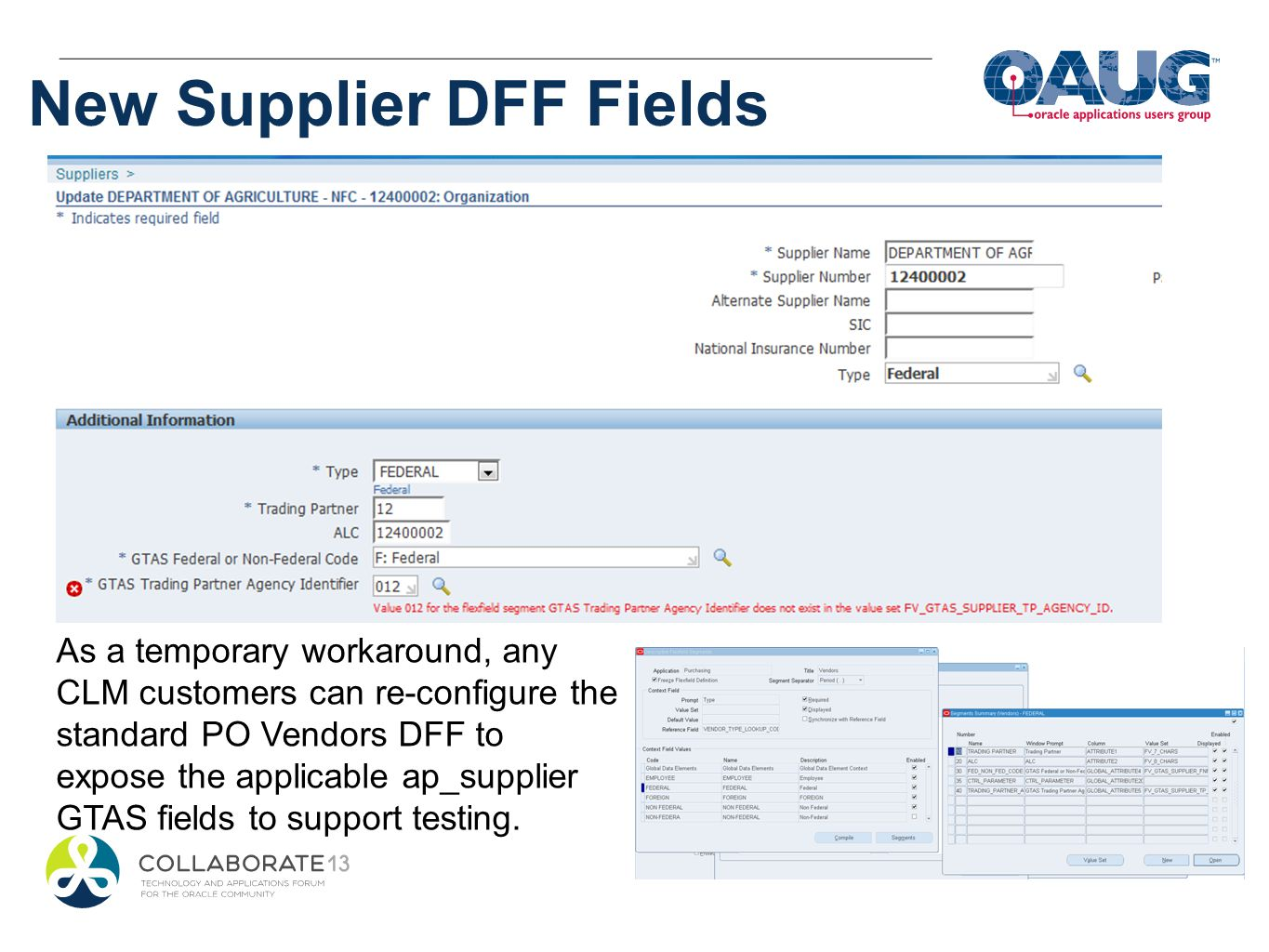 New Supplier DFF Fields