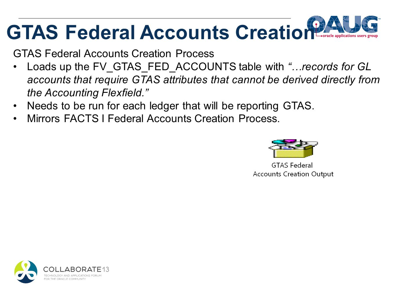GTAS Federal Accounts Creation