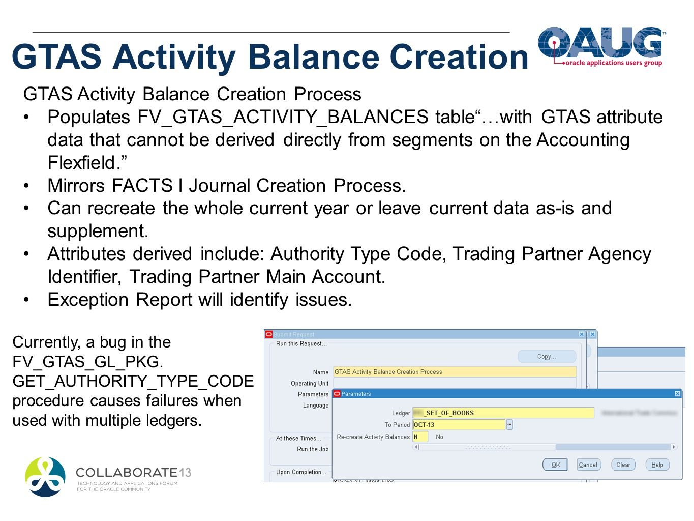 GTAS Activity Balance Creation