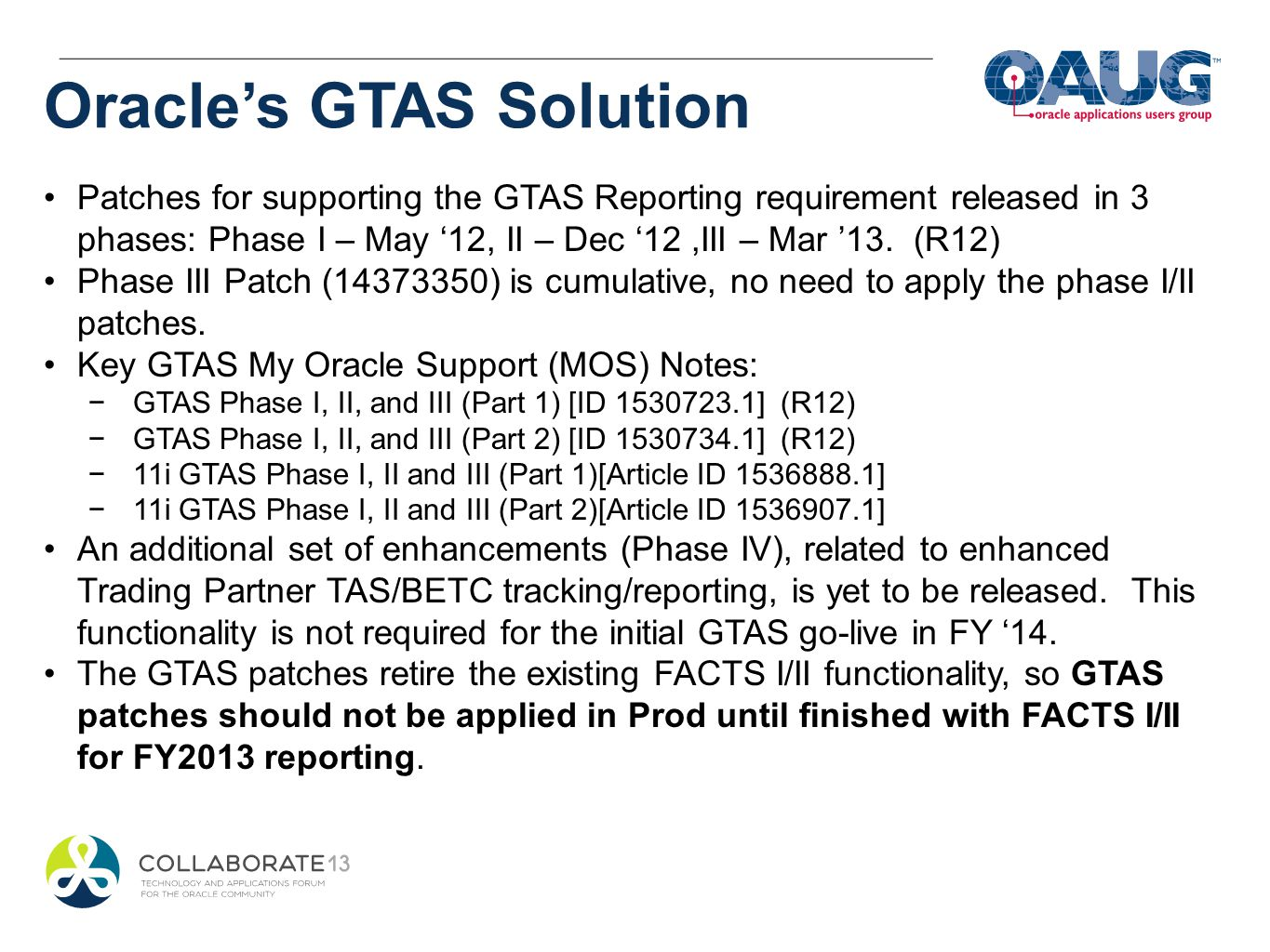 Oracle's GTAS Solution