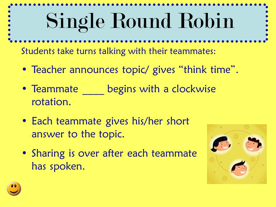 Single Round Robin Teacher announces topic/ gives think time .