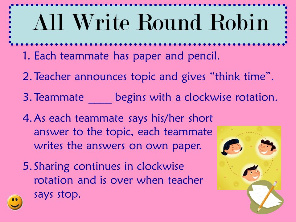 All Write Round Robin Each teammate has paper and pencil.