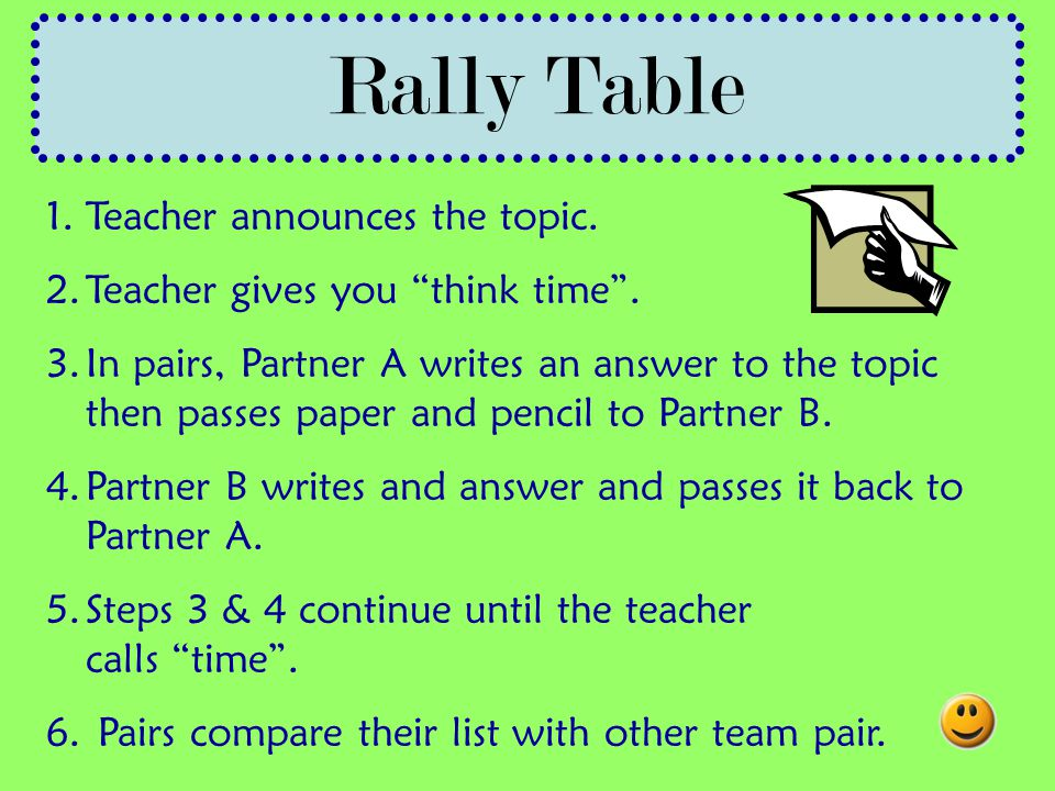 Rally Table Teacher announces the topic.