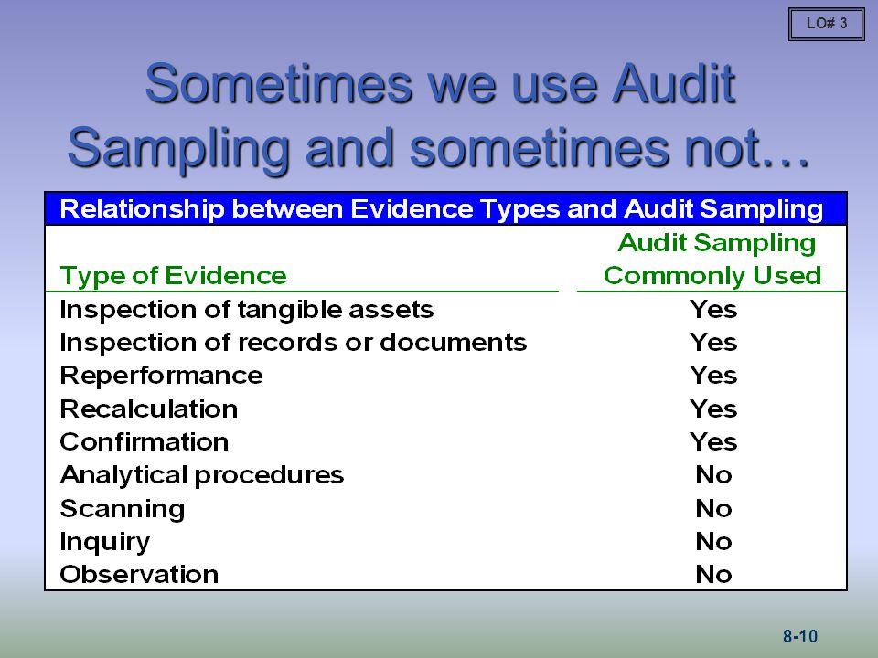 Sometimes we use Audit Sampling and sometimes not…