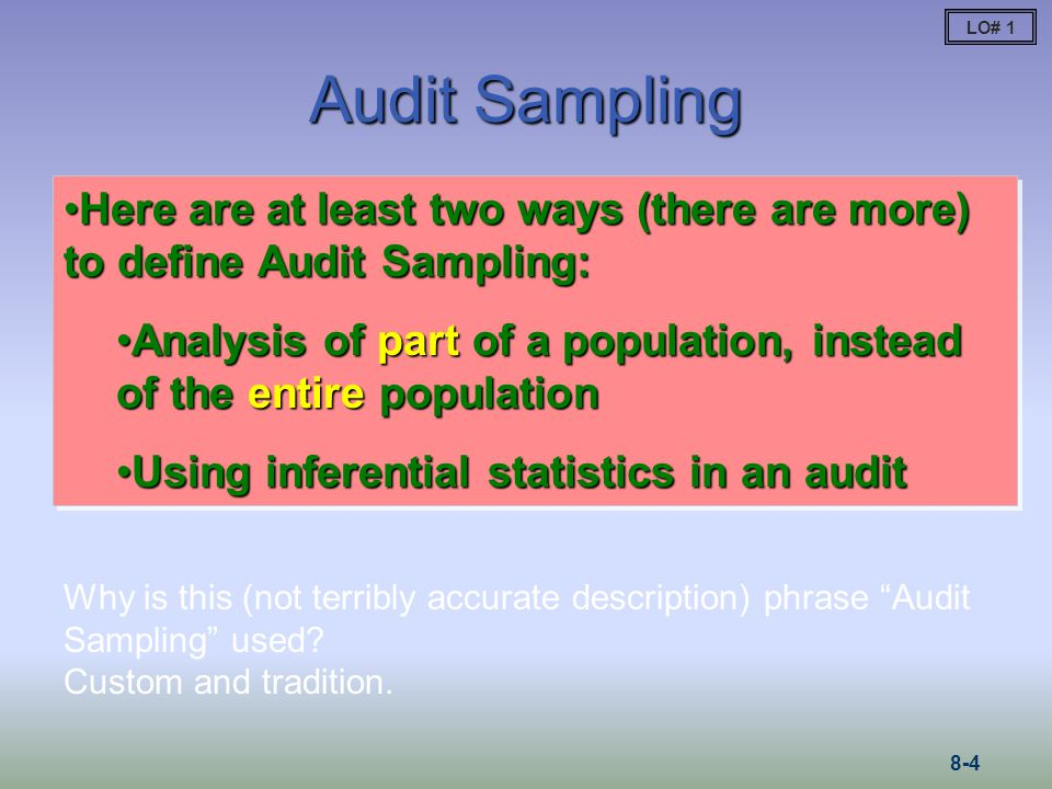 LO# 1 Audit Sampling. Here are at least two ways (there are more) to define Audit Sampling: