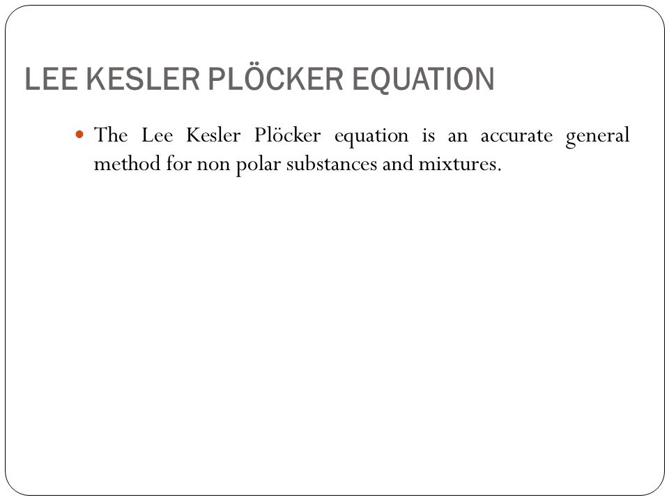 LEE KESLER PLÖCKER EQUATION