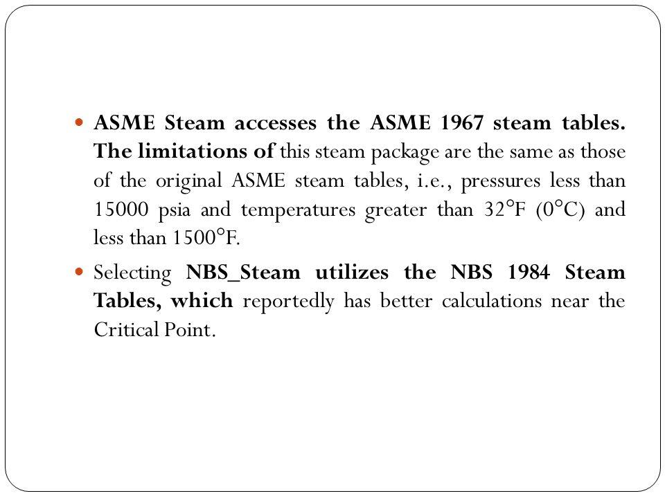 ASME Steam accesses the ASME 1967 steam tables