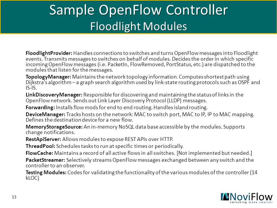 Sample OpenFlow Controller Floodlight Modules