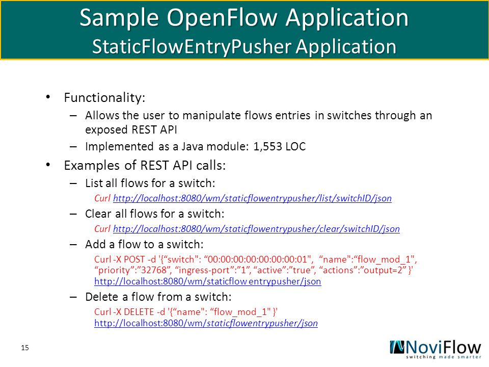 Sample OpenFlow Application StaticFlowEntryPusher Application