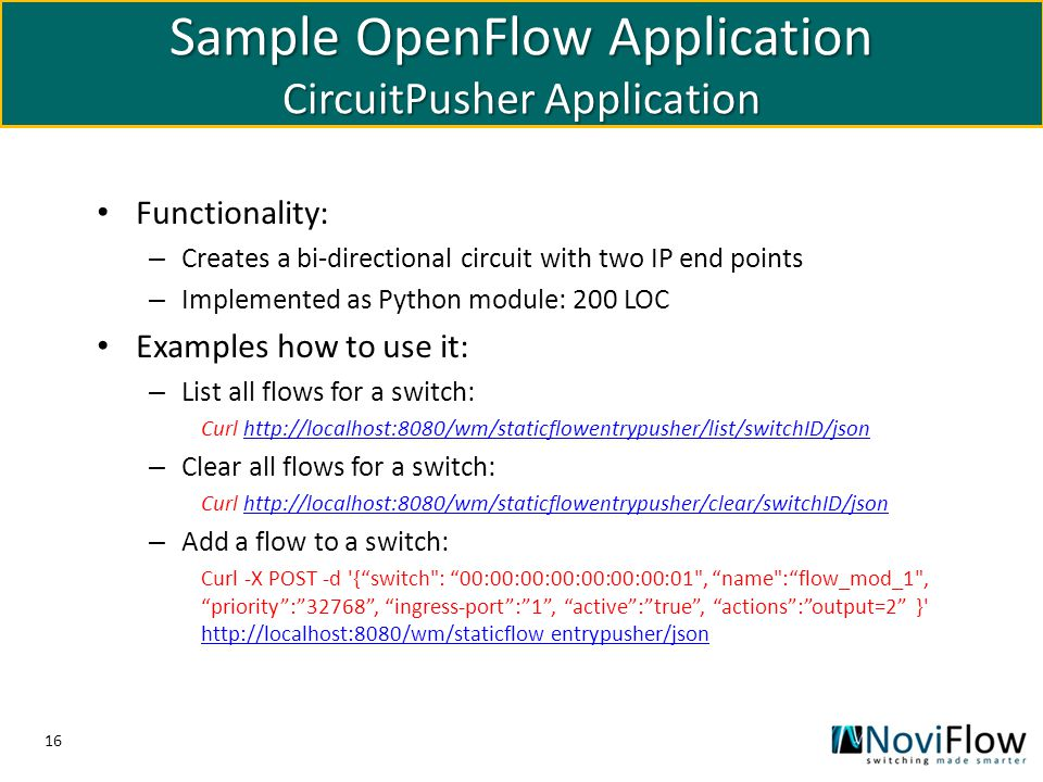 Sample OpenFlow Application CircuitPusher Application