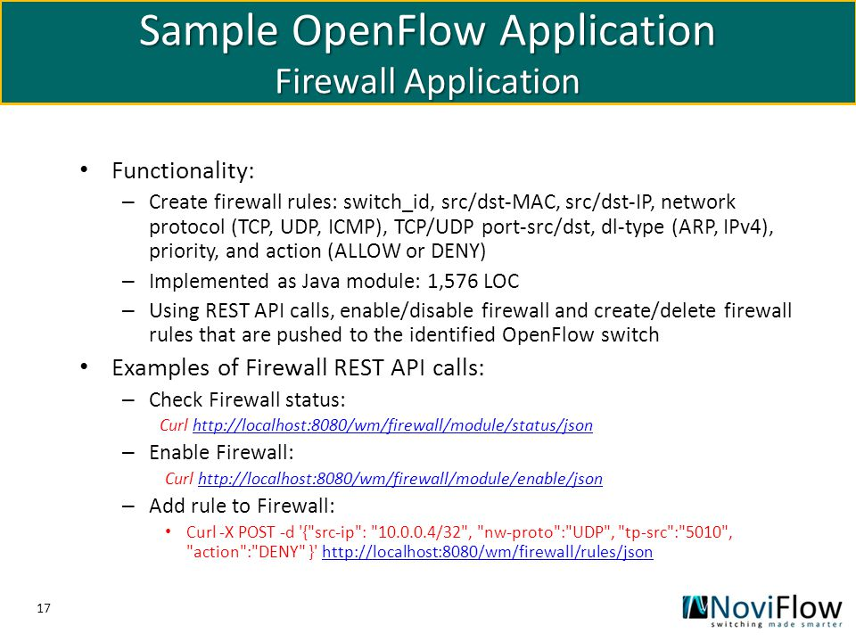 Sample OpenFlow Application Firewall Application
