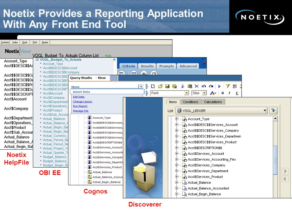 Noetix Provides a Reporting Application With Any Front End Tool