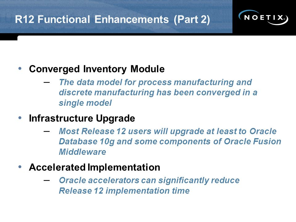 R12 Functional Enhancements (Part 2)