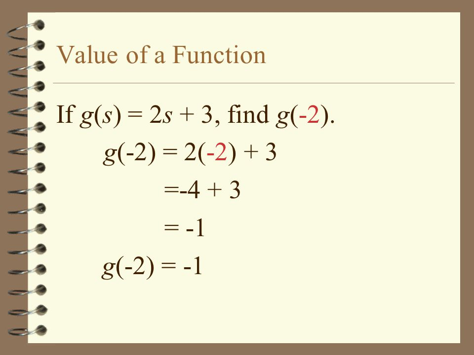 Value of a Function If g(s) = 2s + 3, find g(-2). g(-2) = 2(-2) + 3 = = -1 g(-2) = -1