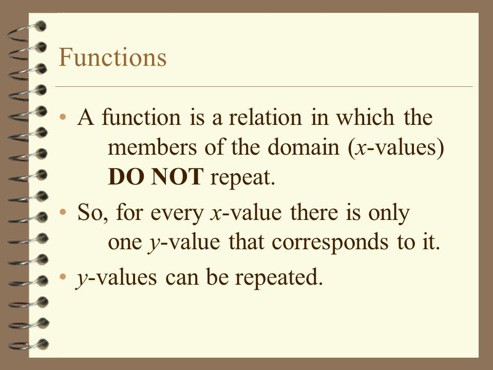 Functions A function is a relation in which the members of the domain (x-values) DO NOT repeat.