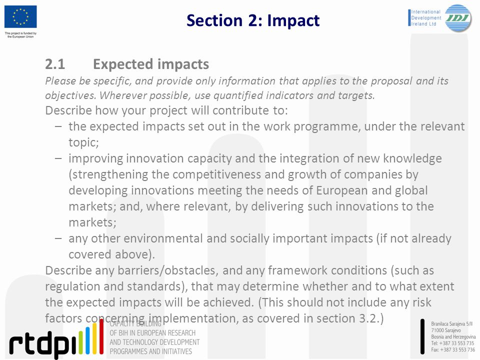 Section 2: Impact 2.1 Expected impacts